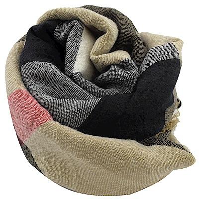 BURBERRY 經典格紋羊毛圍巾/大方金(咖黑)