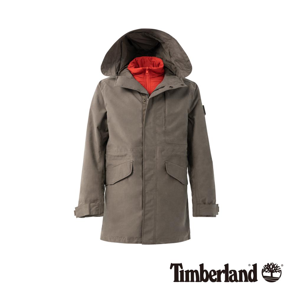Timberland 男款棕色3合一Fishtail Parka 防水外套|A1ND2