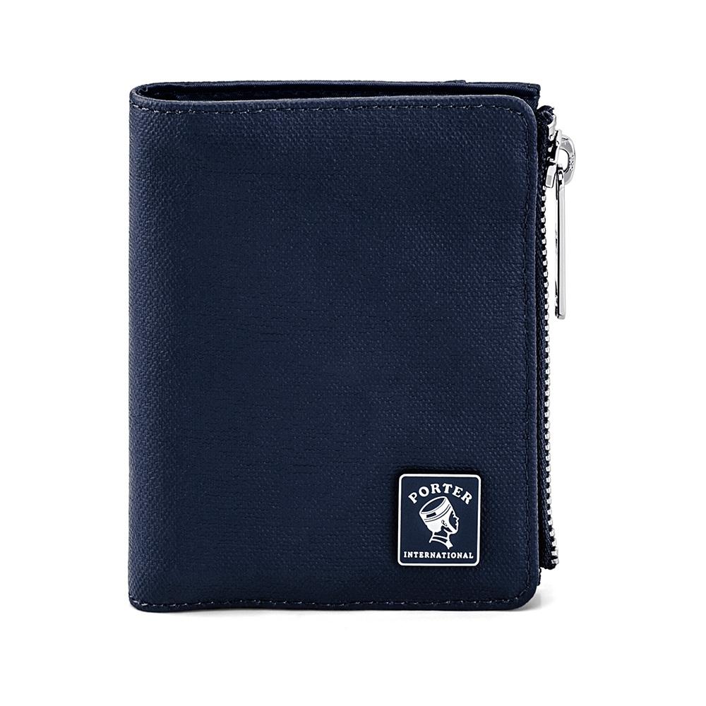 PORTER - 迷幻復古MORI直式零錢皮夾 - 深藍