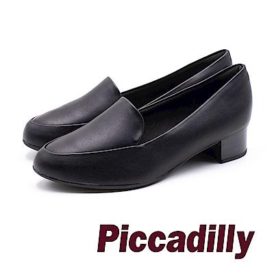 Piccadilly 俐落淑女 簡約剪裁粗跟鞋 - 黑