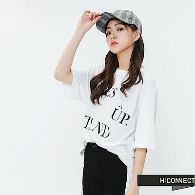 H:CONNECT 韓國品牌 女裝-圓弧下擺印字T-shirt-白