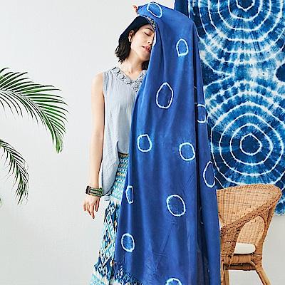 潘克拉 手工藍染萬用防曬大披巾-圈圈-藍色