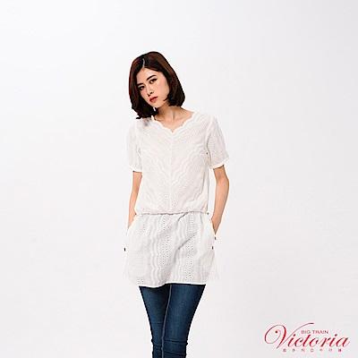 Victoria 全刺繡蕾絲長版短袖T-女-白色
