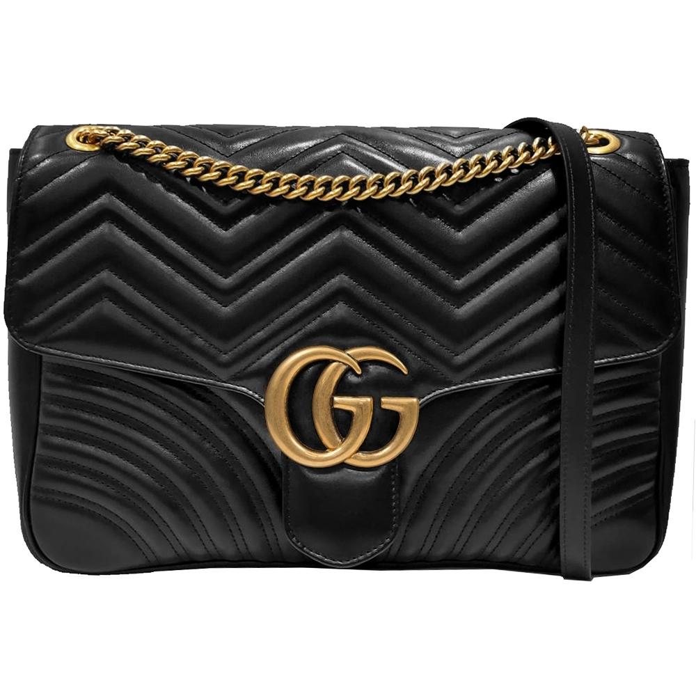 GUCCI  GG Marmont bag 雙鏈翻蓋包(黑色)