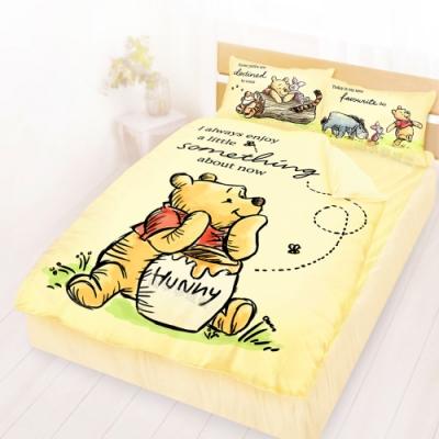 享夢城堡 雙人床包涼被四件組-迪士尼小熊維尼Pooh 蜂蜜小事-米黃.藍