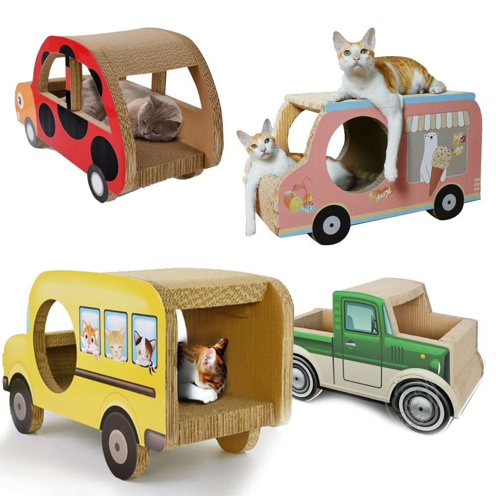 MISSPET》美國校車|卡車冰淇淋車|瓢蟲車瓦愣貓抓板