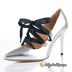 Lilylollipop-Luxury 芭蕾緞面綁帶細高跟鞋--銀