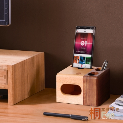 桐趣-文創木作雙筒手機音箱