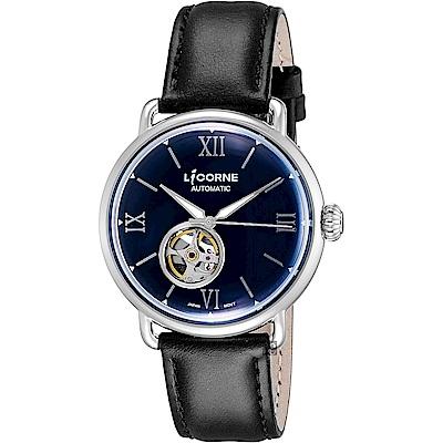 LICORNE力抗 光陰系列 小鏤空機械手錶-藍x黑/42mm