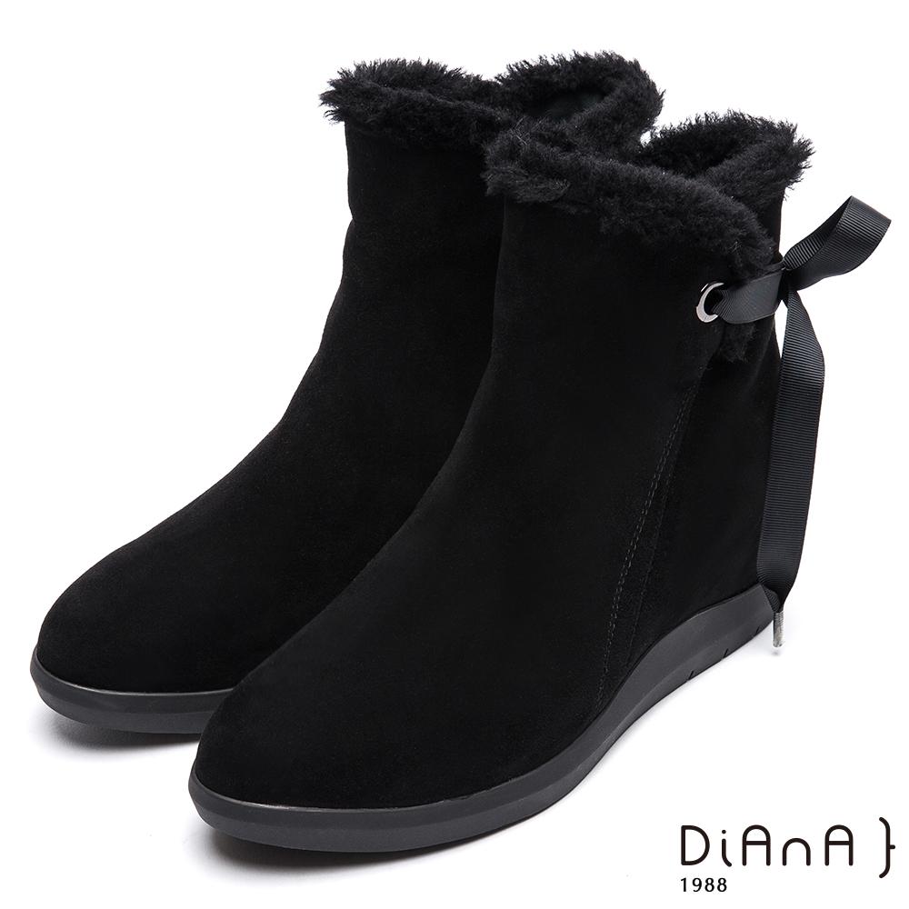 DIANA暖毛綁帶蝴蝶結雪靴-俏麗有型-黑
