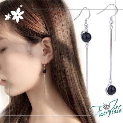 iSFairytale伊飾童話 瑪瑙圓珠 不對稱垂墜銅電鍍耳環 黑