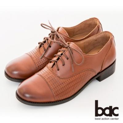【bac】復古風潮英倫率性壓紋綁帶牛津鞋-棕色
