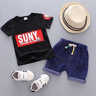 JoyNa 童裝短袖襯衫黑色SUNY套裝
