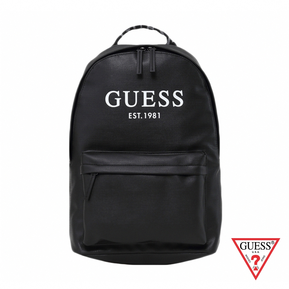 GUESS-男包-簡約美式字母LOGO後背包-黑 原價2890