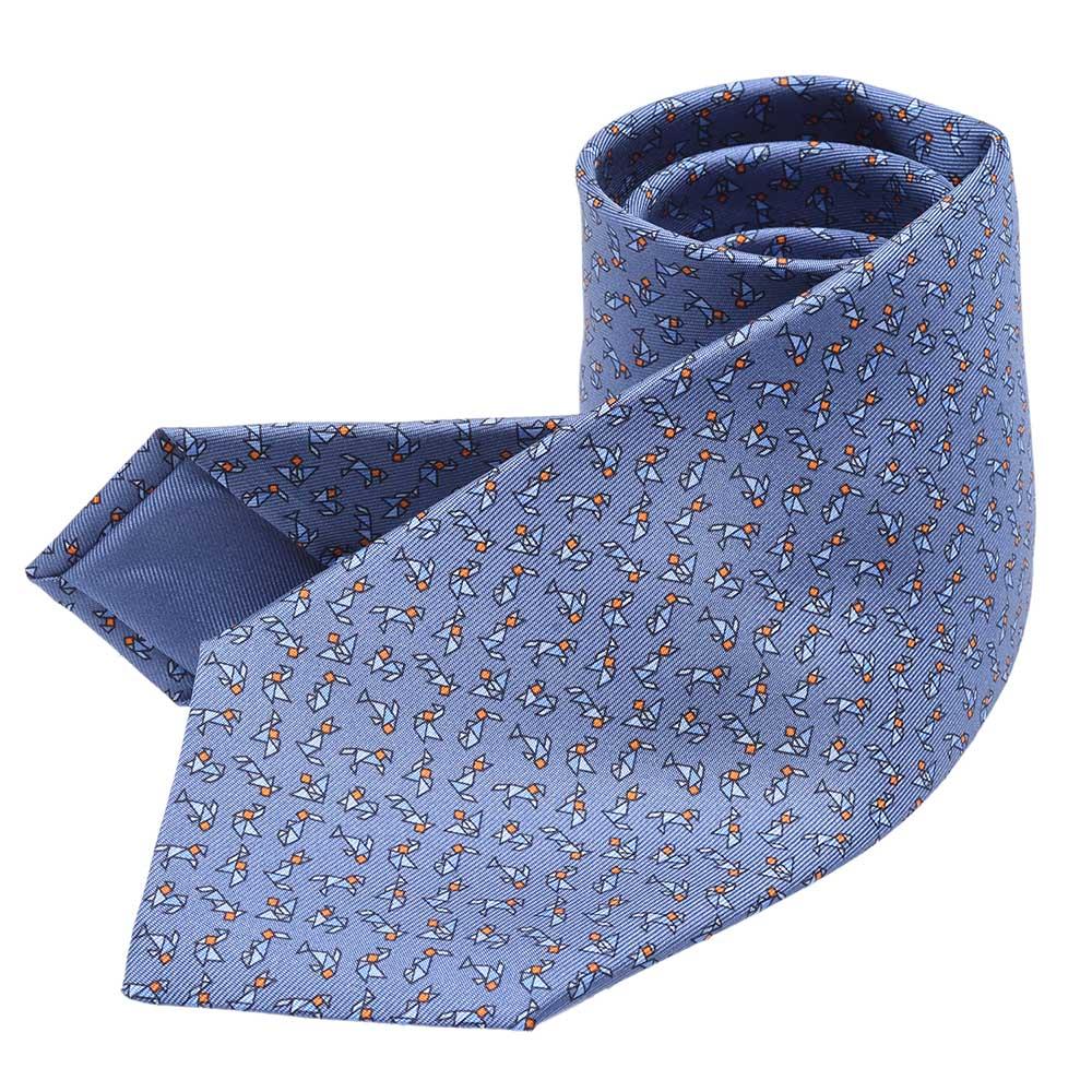 HERMES 經典Tangram tall 系列七巧板動物圖案純絲領帶(水手藍)