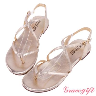 Grace gift-交叉羅馬細帶夾腳涼鞋 金