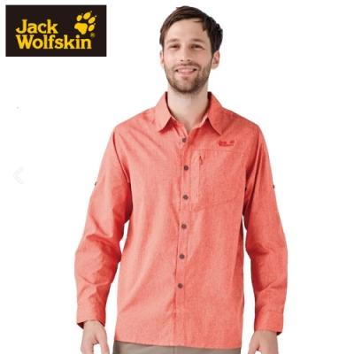 【Jack Wolfskin 飛狼】男 長袖排汗襯衫『橘色』