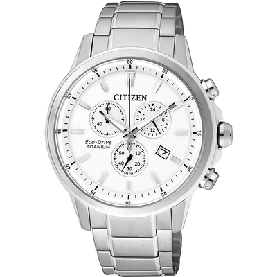 CITIZEN 星辰 ECO-Drive 鈦金屬計時腕錶-銀/42mm AT2340-81A