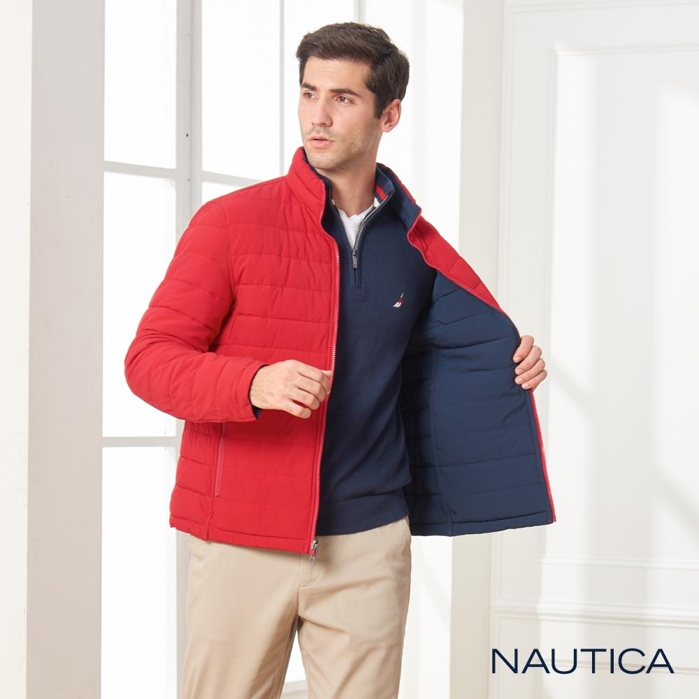 Nautica雙面穿素面壓紋科技羽絨外套-亮紅