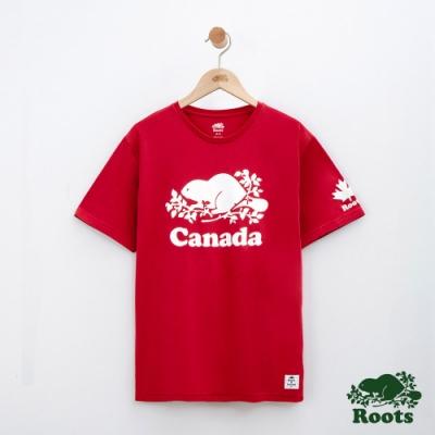 男裝Roots 加拿大系列短袖T恤-紅色