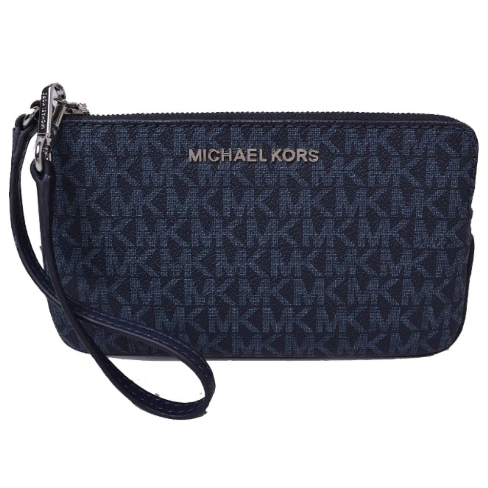 MICHAEL KORS 銀字LOGO防刮皮革滿版大款手拿包-海軍藍
