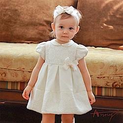 Annys氣質可愛舒適緞帶蝴蝶結拼接蕾絲禮服*7204米白