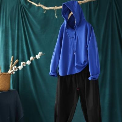 純色抽繩連帽衛衣韓版薄長袖上衣四色可選-設計所在