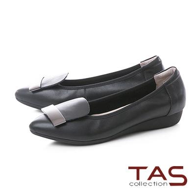 TAS金屬一字造型牛皮尖頭娃娃鞋–俐落黑
