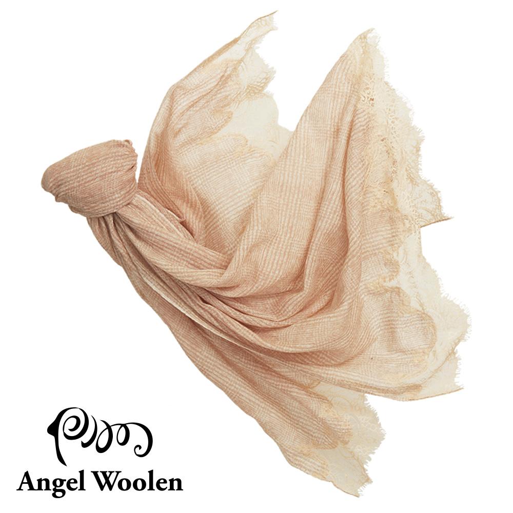 【Angel Woolen】留香印度手工cashmere蕾絲披肩-米色