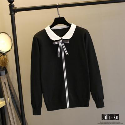 JILLI-KO 條紋蝴蝶結針織衫- 黑/白