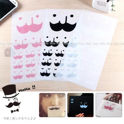 kiret 鬍子表情貼紙 透明裝飾貼紙組6張