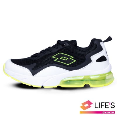 LOTTO 義大利 童鞋 放膽玩色 FLOAT氣墊跑鞋(白黑綠)