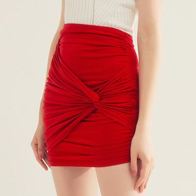 AIR SPACE 扭結抓皺棉質緊身短裙(紅)