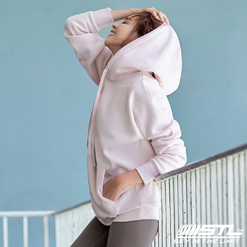 STL YOGA 韓國瑜珈 METRO SEMI overfit hoodie 運動休閒 純色連帽刷毛重磅大帽T 淡寶寶粉BabyPink