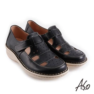 A.S.O 機能休閒 輕量樂活簡約魔鬼氈休閒鞋-黑