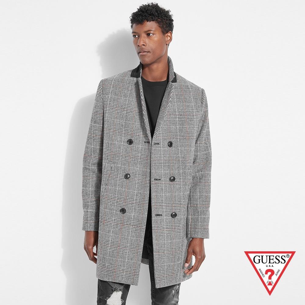 GUESS-男裝-時尚格紋雙排扣大衣外套-灰 原價4990