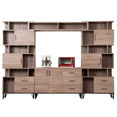 D&T德泰傢俱 BROOK淺胡桃木9.2尺櫥櫃收納櫃組-280x41.5x196cm