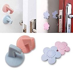 門把防撞新組合 花型加厚矽膠緩衝墊+牆面防撞矽膠門把勾