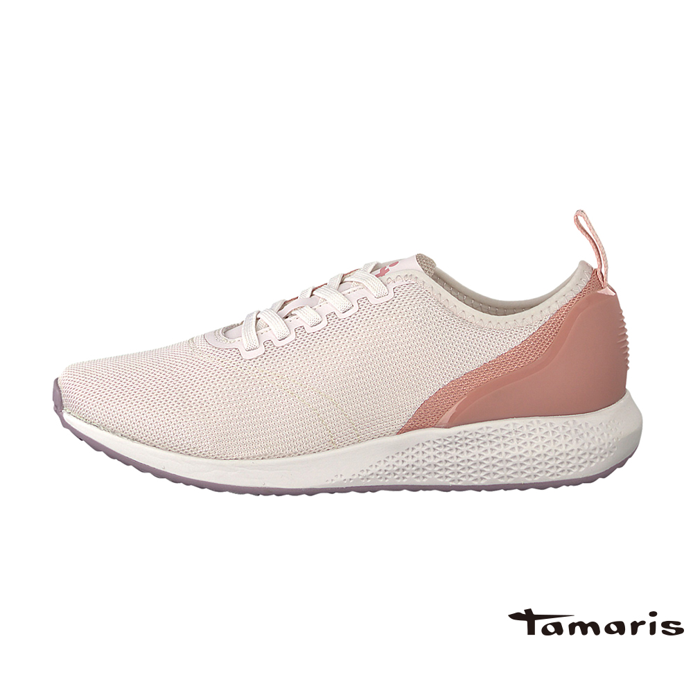 TAMARIS(女) TAVIA 柔美色調舒適彈力蕾絲雙色調運動鞋- 玫瑰粉
