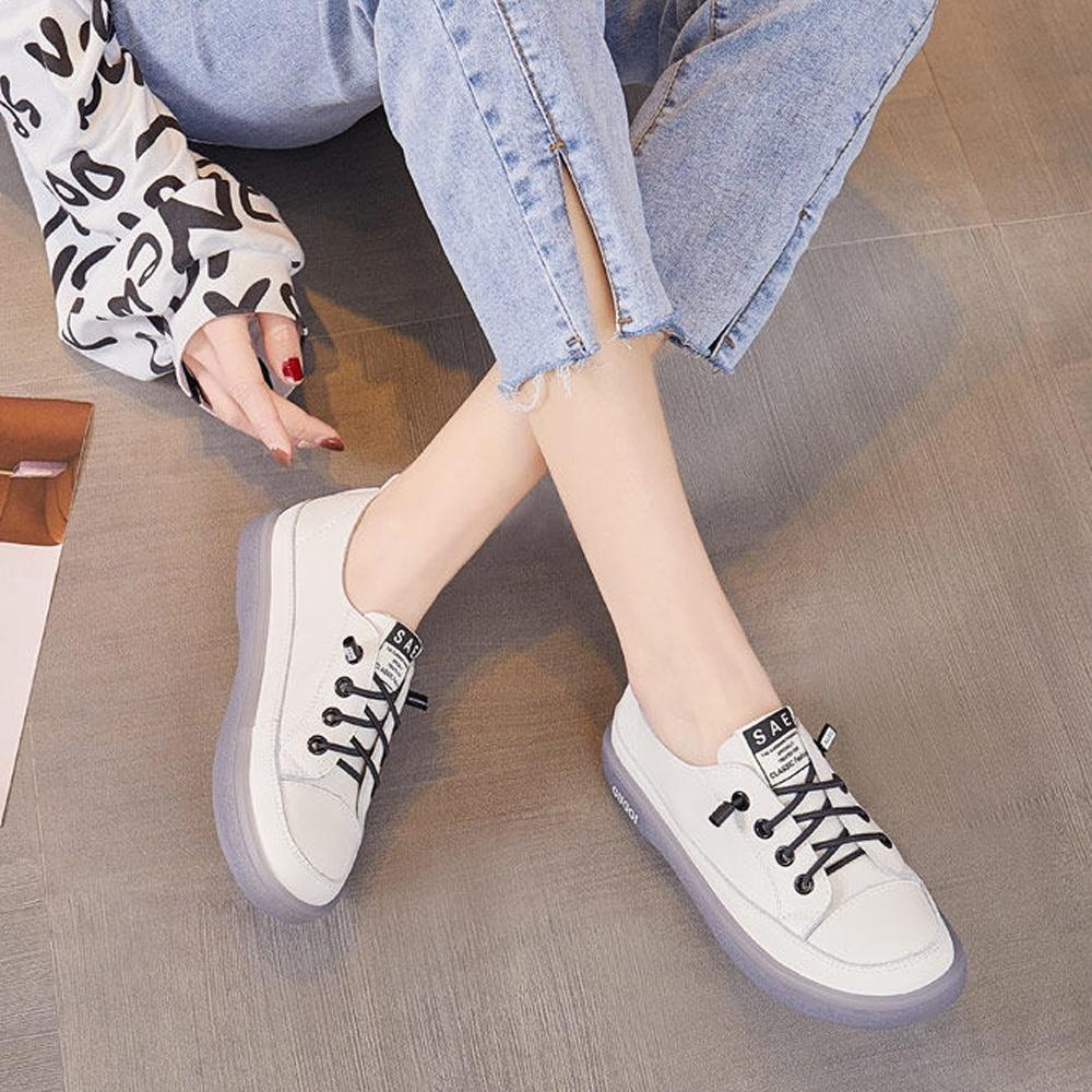 LN  現+預 韓版免綁牛筋軟底小白鞋(免繫帶/休閒鞋) (白色)