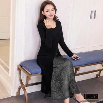 JILLI-KO 裙身金蔥壓摺兩件式套組- 黑