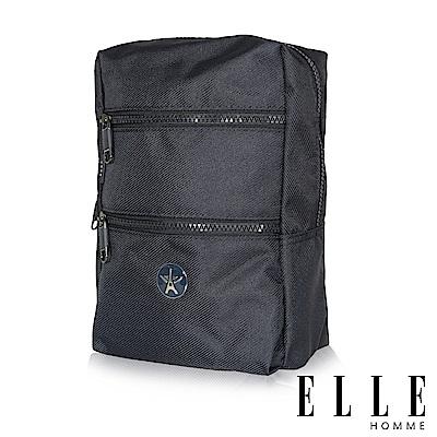 福利品ELLE 巴黎輕旅商務雙層拉鍊單肩側背包-深藍色
