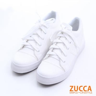 ZUCCA-日系撞色紋休閒運動鞋-白-z6521we