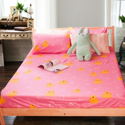 Carolan 小鴨-粉 精梳純棉加大枕套床包組(6x6.2尺)