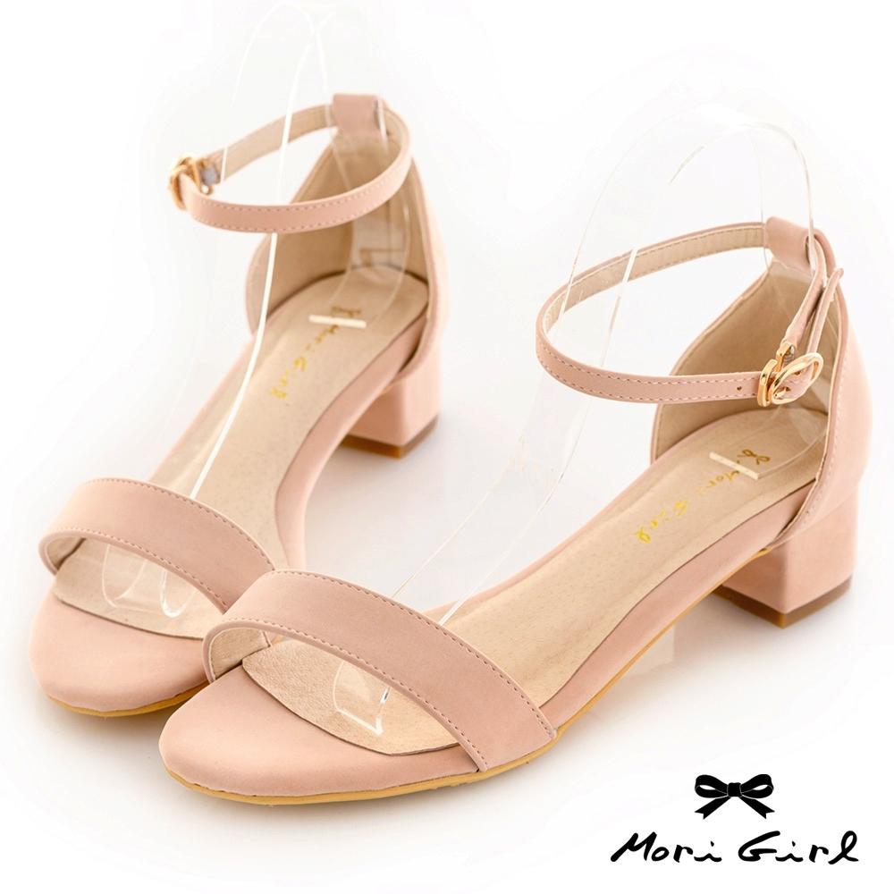 Mori girl夏日必備一字帶粗低跟涼鞋 粉