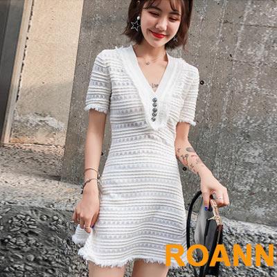 V領條紋拼接流蘇短款針織洋裝 (共二色)-ROANN
