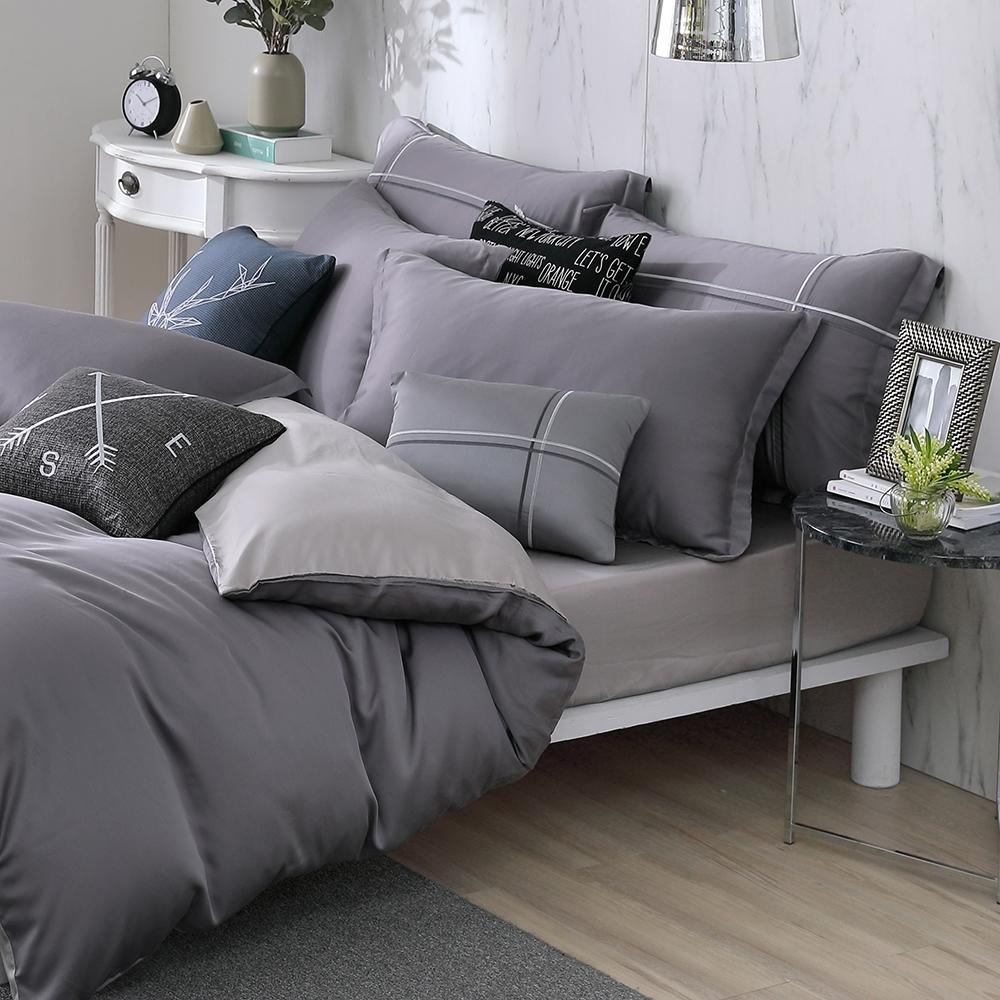 OLIVIA 玩色主義 灰 標準雙人床包歐式枕套三件組 300織膠原蛋白天絲 台灣製
