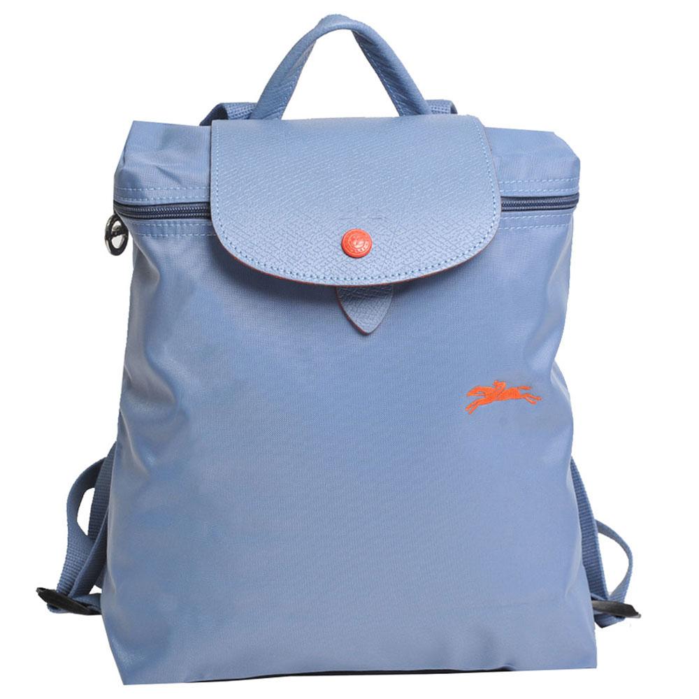 Longchamp 經典Collection系列刺繡摺疊拉鍊後背包(天藍色) @ Y!購物