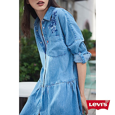 Levis 牛仔連身裙 女裝 花卉刺繡 前口袋