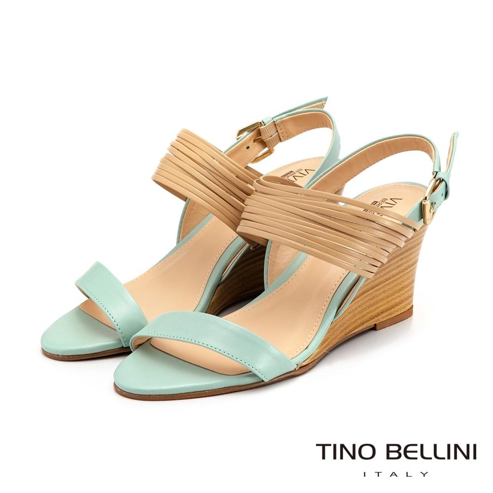 Tino Bellini巴西進口線條姿態楔型涼鞋_水藍